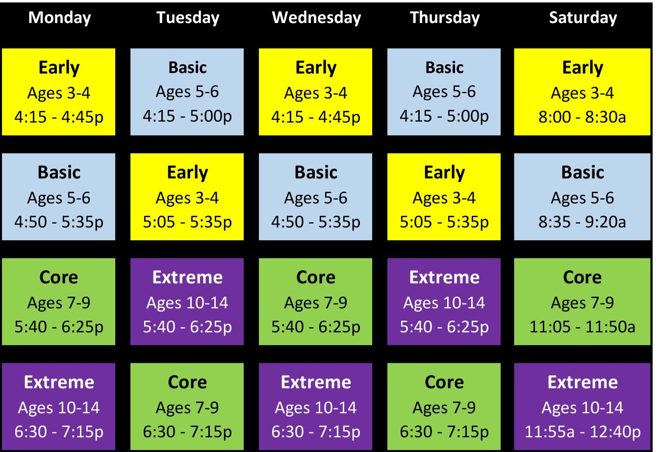 Schedule Effective 04-13-2019 - kids